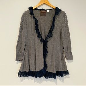 Anthropologie Guinevere Ruffled Striped Cardigan